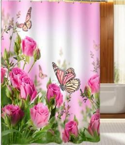 Shower-Curtain-Hooks-Bathroom-Toilet-Shower-Bathing-Cover-Decor-Flower-Painting