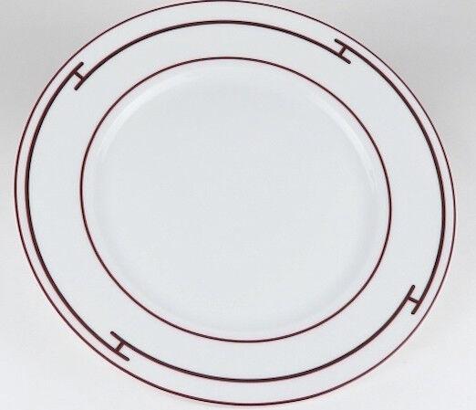 Hermes Porcelana Rythme Rojo Plato de Postre Vajilla Ornamento Auth Raro Usado