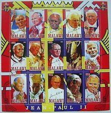 ** Pope John Paul II  - miniature sheet 15 val. Malawi  2012 mint MNH  #182