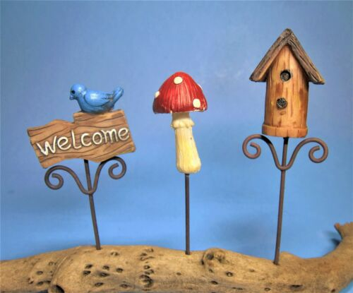 Miniature Garden Picks Welcome Birdhouse Mushroom 3 pc pkg Fairy Garden