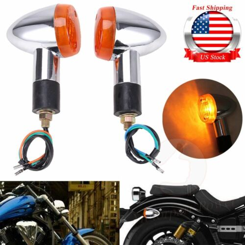 2Pcs Bullet Motorcycle Turn Signal Light Indicators Blinkers Amber Yellow Chrome