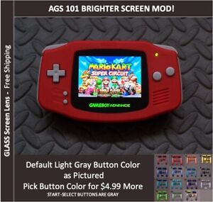 Nintendo Game Boy Advance  System AGS101 Backlit Mod-Glass Screen - RED