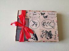 Loisirs Créatifs Scrapbooking lot de 8 tampons bois + encre rouge et noir