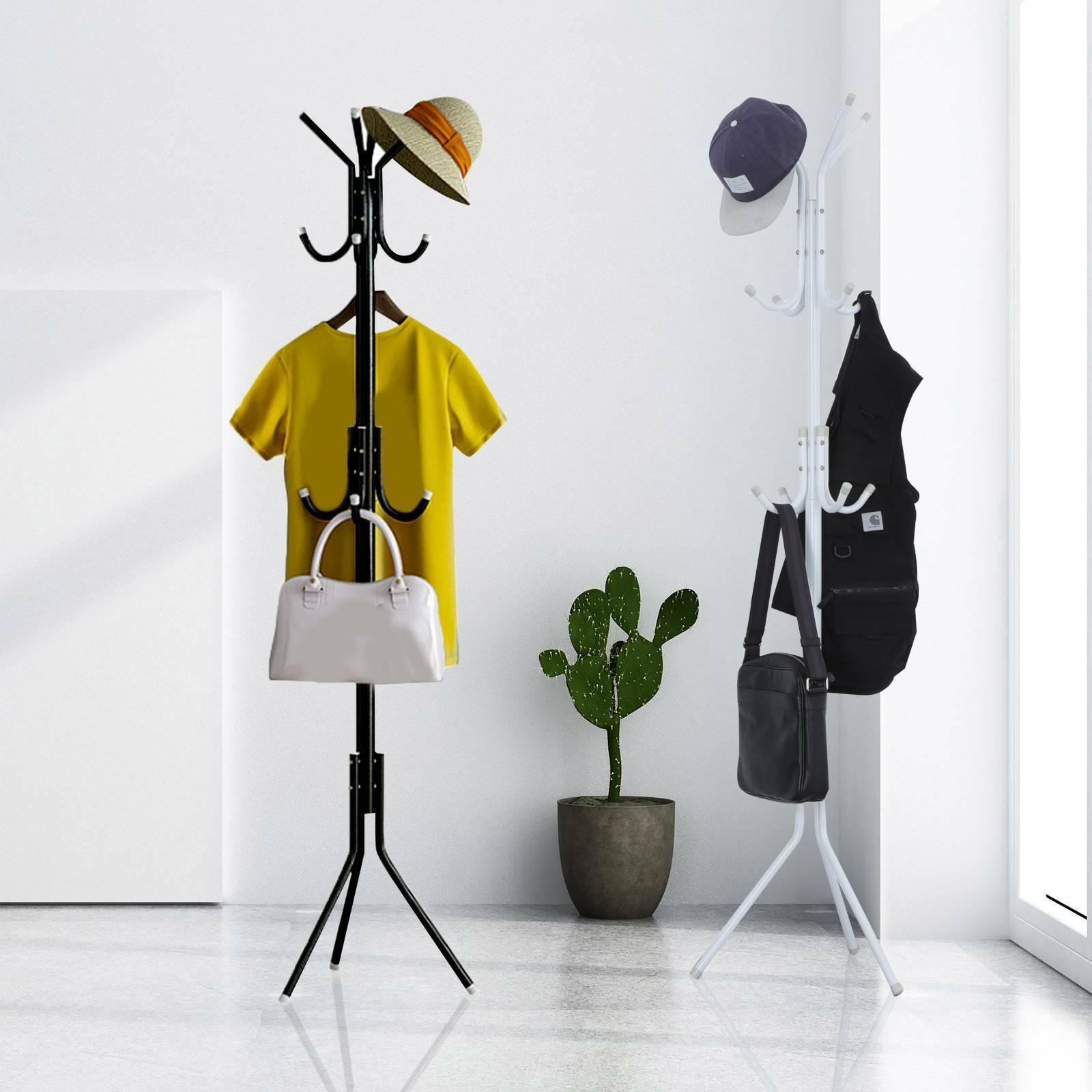 Coat Rack Hat Stand Tree Clothes Hanger Umbrella Holder Solid Organizer 8 Hooks