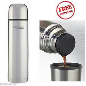 thermos thermocafe stainless steel flask 1 0l 1 litre ebay. Black Bedroom Furniture Sets. Home Design Ideas