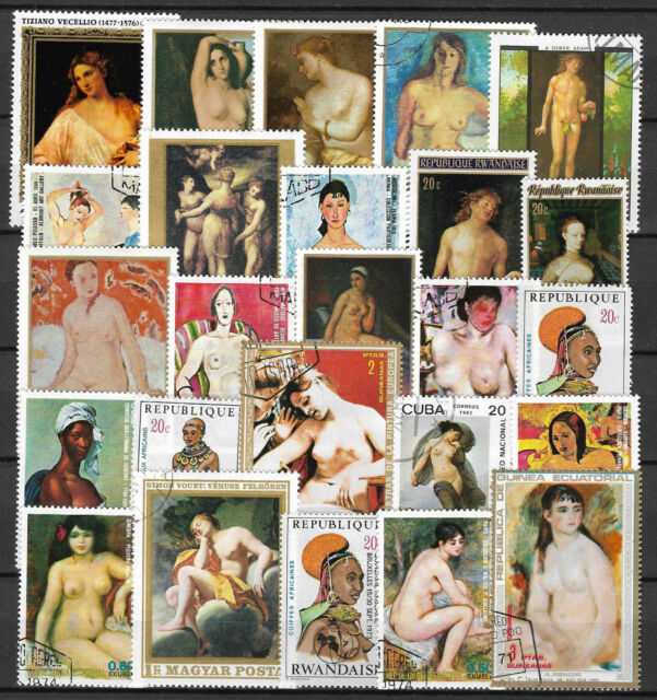 NUDE PAINTINGS Collection Packet of 25 Different Stamps of World Used