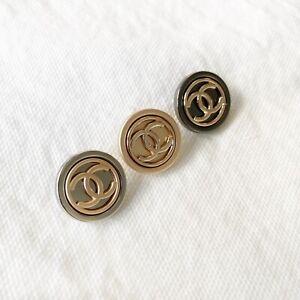 MINT-Chanel-CC-Logo-Silver-Gold-Black-Metal-Button-5-8
