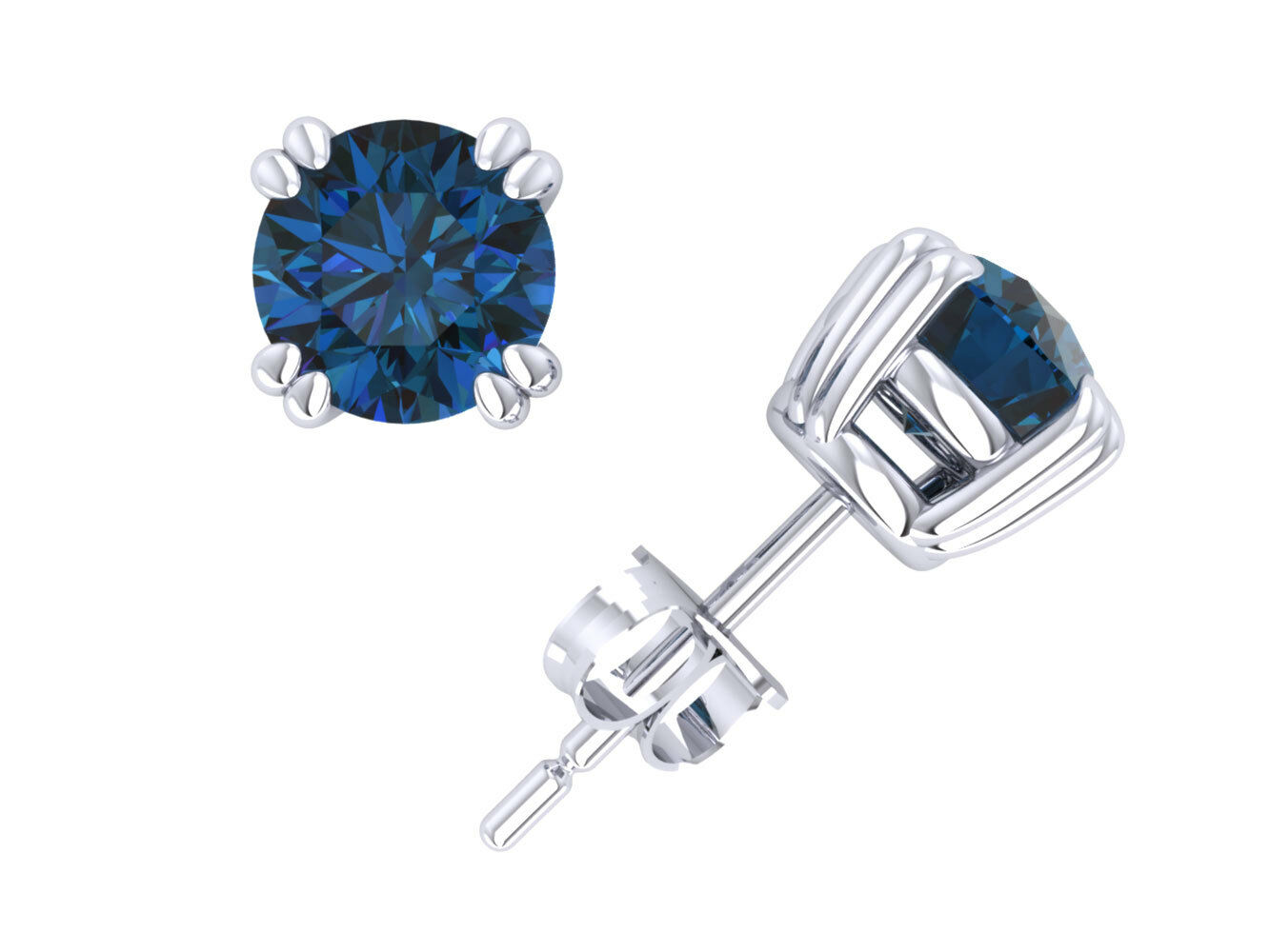Real 1Ct Round Cut bluee Diamond Basket Stud Earrings 14k White gold Double Prong