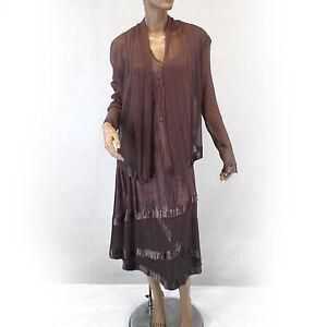 NEW NWOT Komarov Woman Nordstrom Plus Size Pleated Brown Dress ...