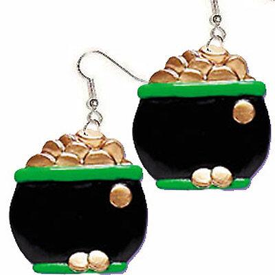 Big Funky POT of GOLD EARRINGS Irish Luck Leprechaun Lucky Charm Costume Jewelry
