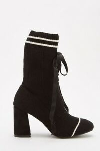 8503fa7374 BLACK LADIES SIZE 4/37 TIE UP KNITTED FLARE BLOCK HEEL ...