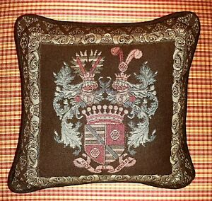 Vintage-Throw-Pillow-Crest-Coat-of-Arms-Motif-Needlepoint-Tapestry-Fabric