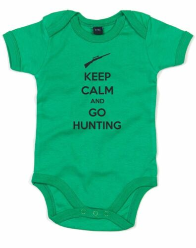 Keep Calm and go Hunting Printed Baby Grow