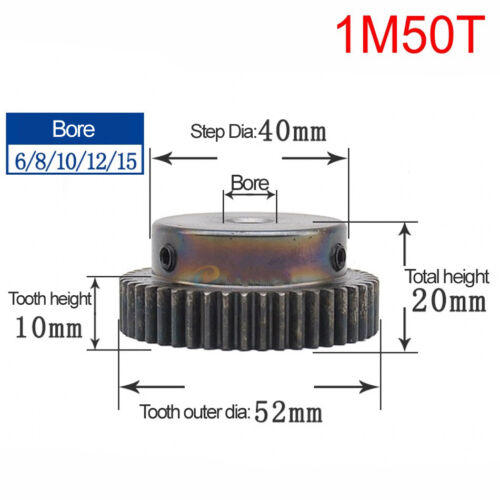 45# Steel Spur Motor Pinion Gear 1Mod 50T Outer Diameter 52mm Bore 6mm Qty 1