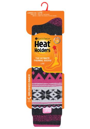 Heat Holders Lite Womens Thin Long Knee High 1.6 TOG Patterned Thermal Socks