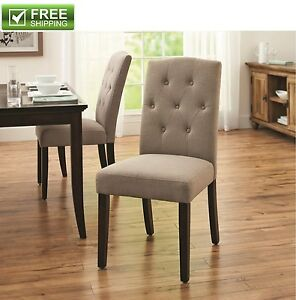 dining chair taupe elegant traditional button tufted fabric upholstered sturdy ebay. Black Bedroom Furniture Sets. Home Design Ideas