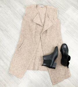 ladies-Wool-Alpaca-Blend-Size-10-Cardigan-Sleeveless-Oatmeal-Pocket-Winter