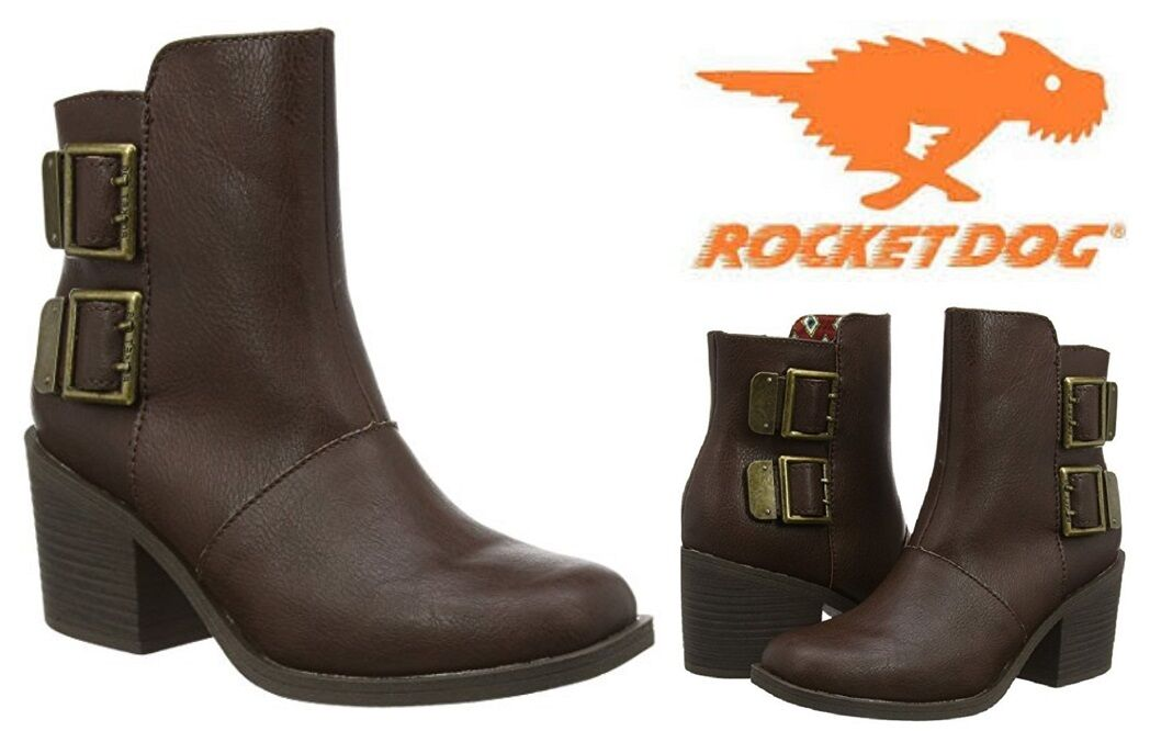 Women's Ankle Boots Rocket Dog Dundee Zip-Up Brown Sizes 5-7-8 UK -38-40-41 EU
