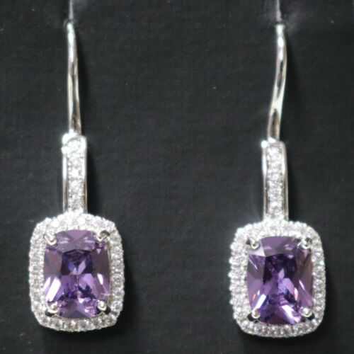 Details about  /1.5 Ct Purple Amethyst Hook Earrings CZ Halo Sterling Silver White Gold Plated