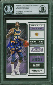 Lakers-Magic-Johnson-Signed-2018-Contenders-43-Purple-Variant-Card-BAS-Slabbed