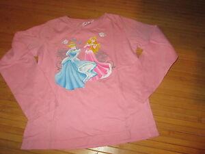 Tee-shirt-Rose-motif-034-Princesse-034-ML-T8ans-marque-Disney-en-TBE