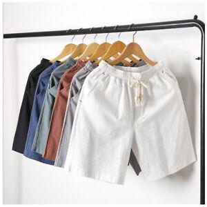 Men-Shorts-Solid-Colors-Drawstring-Cotton-Linen-Loose-Beach-Summer-Hot-Pants