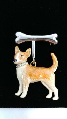 W LARGE ENAMEL RHINESTONE COLLAR DOG BONE CHIHUAHUA TERRIER DANGLE BROOCH PIN