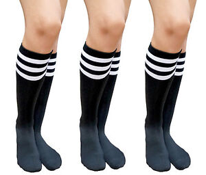 20d198686 AM Landen 3 Pairs Black White Stripe Knee High Socks Stripe Socks ...