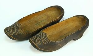aa398261d43b7 Details about ! Antique Carved Ornate Pair Women's/Childrens Wooden Clogs  Shoes