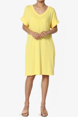 TheMogan S~3X Rolled Short Sleeve Side Pocket V-Neck Jersey Midi T-Shirt Dress