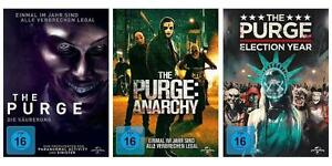 3-DVDs-The-Purge-1-3-Saeuberung-Anarchy-Election-Year-Im-Set-NEU-OVP