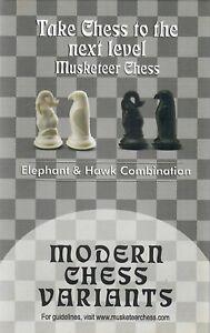 Musketeer Chess Variant Kit - Elephant & Hawk - Black & White
