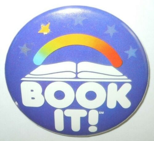 Book It Button Pin Pinback Pizza Hut 1985 3 Inch Vintage Reading Program Flair