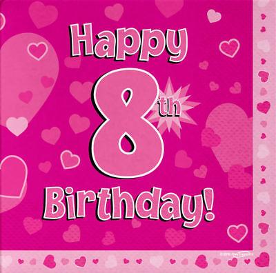 Pack de 16 rose fille 4 aujourd/'hui Joyeux 4th Anniversaire coeurs déjeuner Papier Serviette 3ply