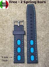 22mm MP Scuba Diver Racing Silicone Black Blue Stitches Strap Fit Seiko