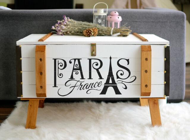 Shabby Chic Vintage Frachtkiste Holzkiste Truhe Couchtisch France Paris France