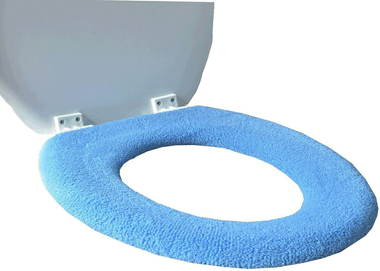 Toilet Seat Cover Warm Padded x 2 Fluffy Soft Pink Blue Grey Washable Cushion UK