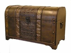 Image Is Loading Brown Old Fashioned Medium Wood Storage Trunk Wooden