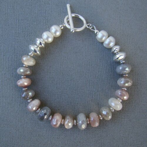 UK Seller BNWT Freshwater Pearl Pendant//Necklace 925 Silver Pink//White