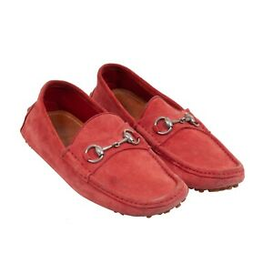 GUCCI - RED SUEDE HORSEBIT LOAFERS