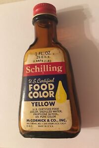 Details about Vintage Schilling Yellow Food Color, Food Coloring Empty  Bottle, McCormick & Co.