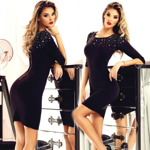 ESC Damenkleid Partykleid Minikleid Showkleid Longshirt schwarz 34-38 #E159