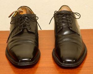Johnston-Murphy-Black-Leather-Cap-Toe-Lace-Up-Oxford-Shoes-Mens-Size-13-M