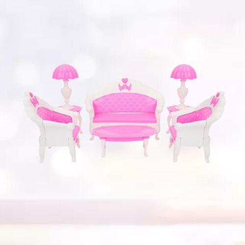 4Pcs 1//12 Dolls House Mini Living Room Furniture Sofa Set Pink Style Xmas Gifts