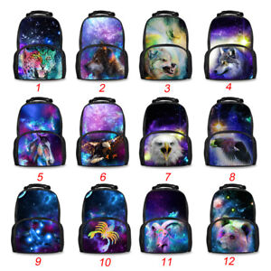 360dde54916a 3D School Bags Student Book Bag Galaxy Wolf Print For Teens College ...