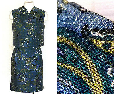 50er Jahre 60er Kleid Vtg Lurex Schimmernd Blau Und Gold Paisleymuster Party Hell Und Durchscheinend Im Aussehen