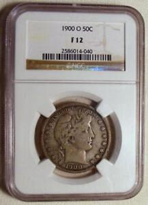 NGC-F12-1900-O-Silver-Barber-Half-Dollar-VERY-NICE-PROBLEM-FREE-COIN