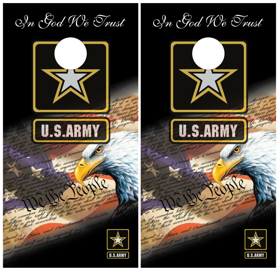 Army We The  People USA Cornhole Board Wraps Skins Vinyl Laminated HIGH QUALITY   big discount