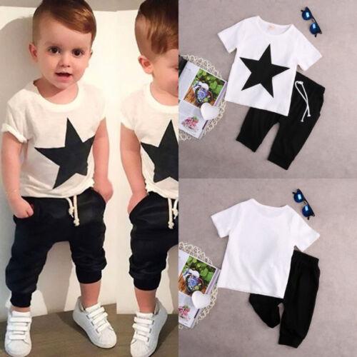 UK Stock Casual Toddler Kids Boys Star Summer T-shirt Tops Pants Outfits Set