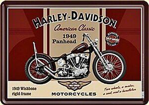Harley-Davidson-Panhead-Metal-Tarjeta-Postal-150mm-x-105mm-Na